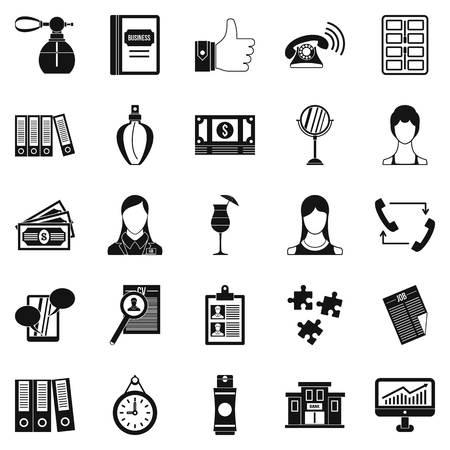 Business studio icons set, simple style Illustration
