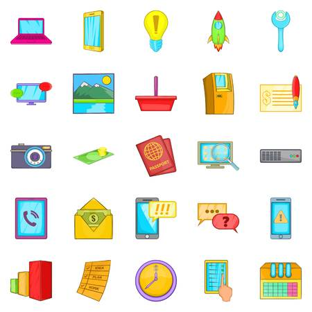 Operator icons set, cartoon style