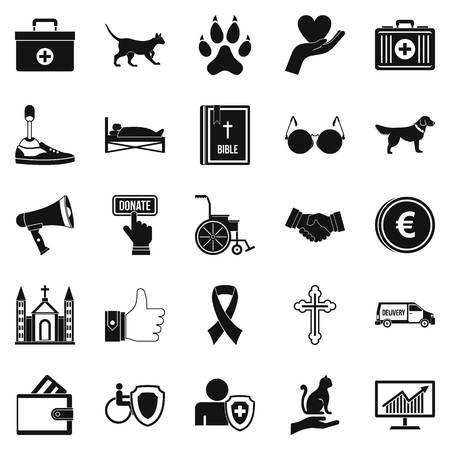 black family: Welfare icons set, simple style Illustration