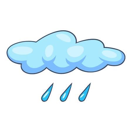Blue cloud rain icon, cartoon style