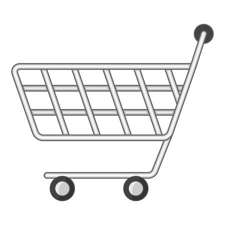 Minimarket shopping cart icon, cartoon style