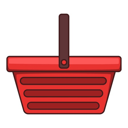 One hand shopping basket icon, cartoon style