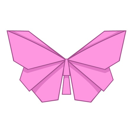 Origami pink butterfly icon, cartoon style Illustration