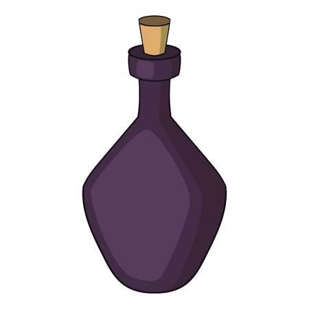 Round alcohol bottle icon, cartoon style