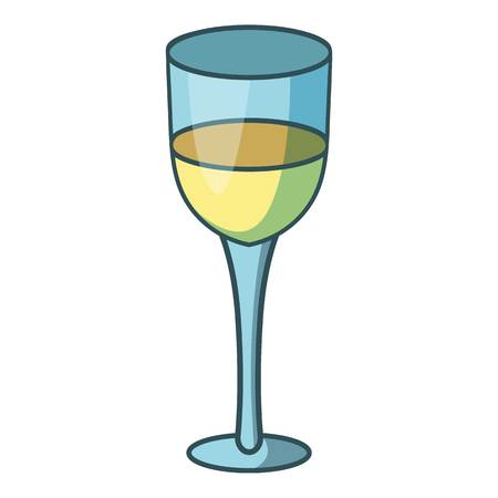 glass reflection: Glass of white wine icon, cartoon style