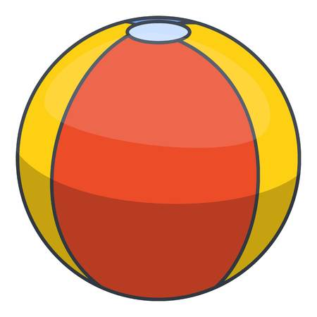 red balloons: Colorful beach ball icon, cartoon style