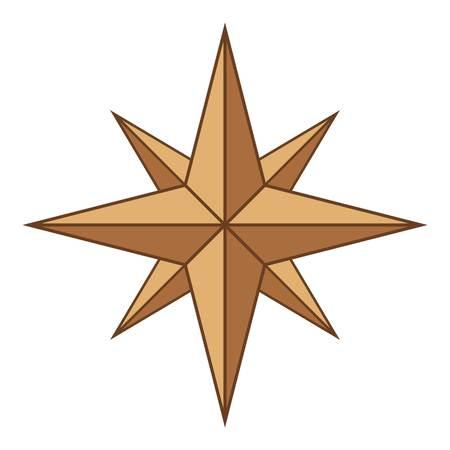 風ローズ アイコン、漫画スタイルの古代記号