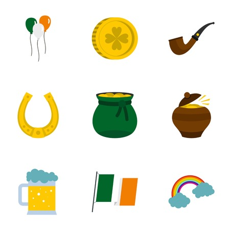 gold buckle: Happy Patrick day icon set, flat style Illustration