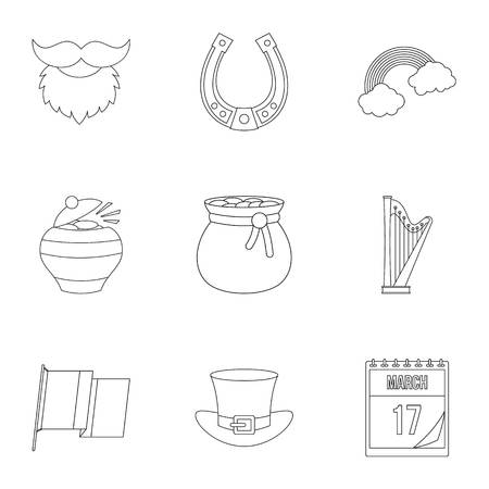 Happy Patrick day icon set, outline style
