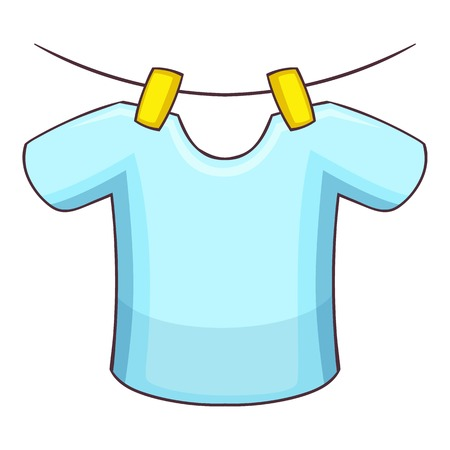 Shirt on the rope icon, cartoon style Illustration
