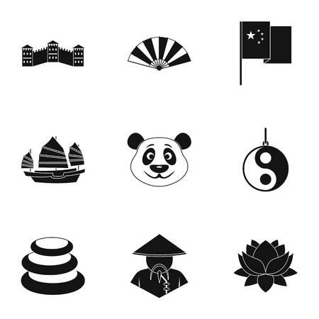 chinatown: China republic icon set, simple style