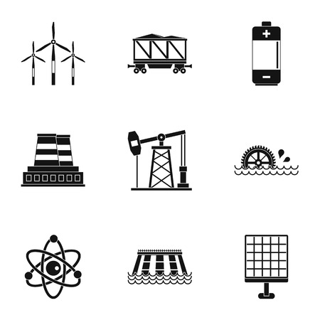 Electricity industry icon set, simple style