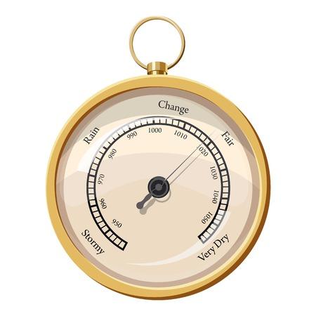 Metal framed hygrometer icon, cartoon style Illustration