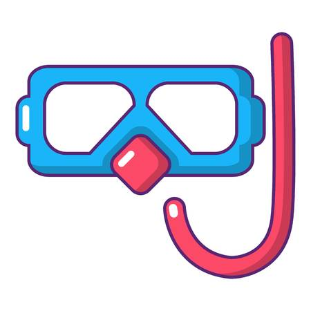 Diving mask and snorkel icon, cartoon style