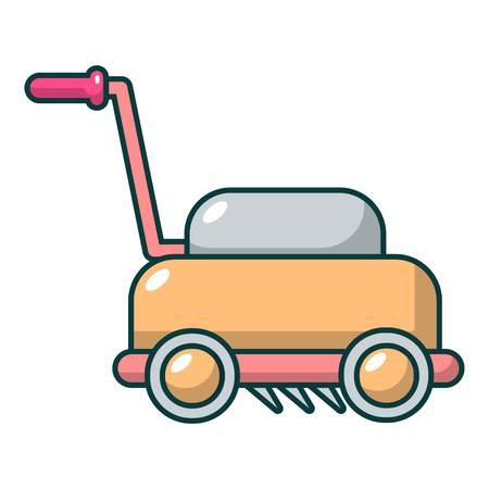 Lawn mower machine icon, cartoon style Illustration