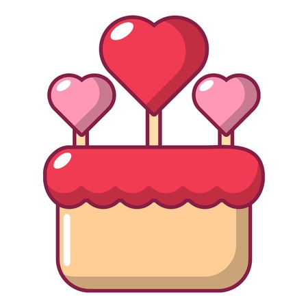 Wedding cake icon, cartoon style