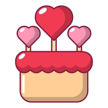 Wedding cake icon, cartoon style