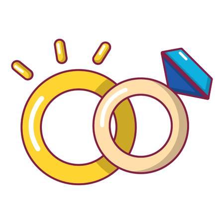 Wedding rings icon, cartoon style