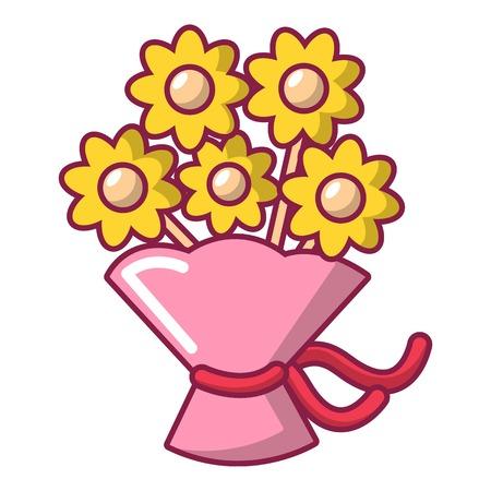 Bruiloft bloem emmer pictogram, cartoon stijl