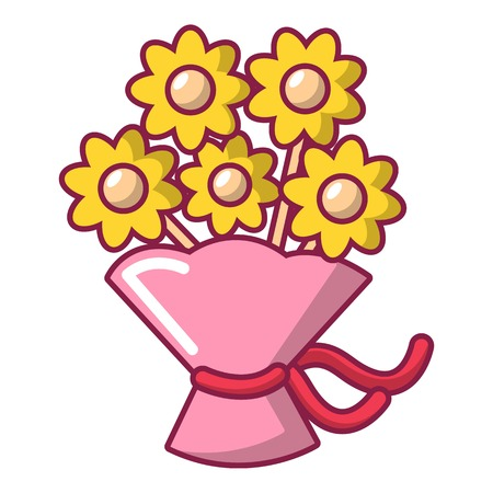 Wedding flower bucket icon, cartoon style
