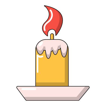 Simple candle icon, cartoon style
