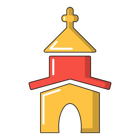 Church icon, cartoon style Illustration