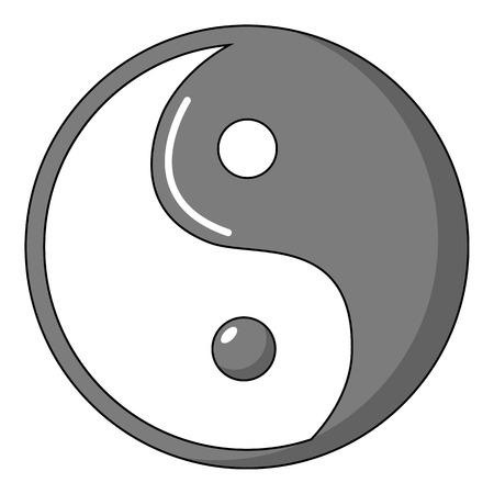 Yin yang symbol taoism icon, cartoon style