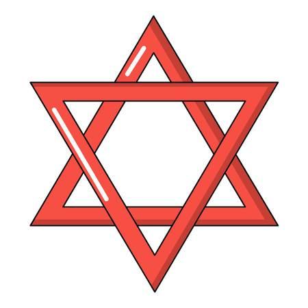 Star of david judaism icon, cartoon style Illustration