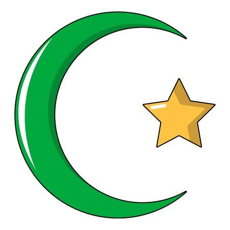 Star,crescent symbol of islam icon, cartoon style