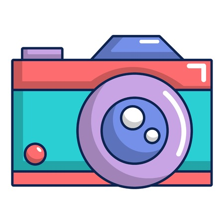 Retro camera icon, cartoon style