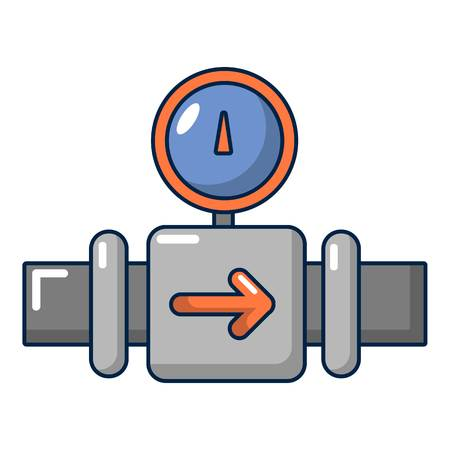 Water meter pipe icon, cartoon style