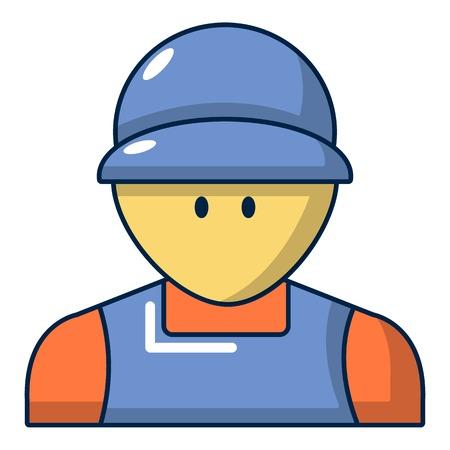Plumber man face icon, cartoon style