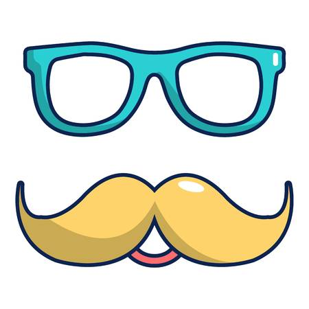 Nerd glasses and mustaches icon, cartoon style