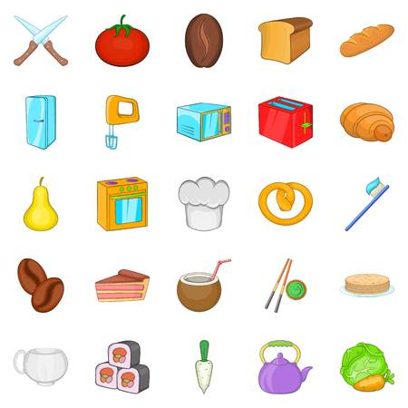 Pie icons set. Cartoon set of 25 pie vector icons for web isolated on white background