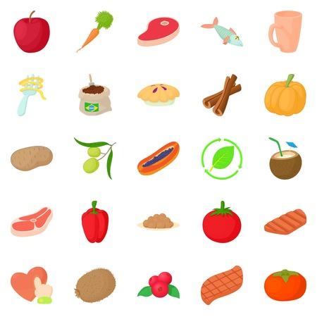 Vegan icons set. Cartoon set of 25 vegan vector icons for web isolated on white background