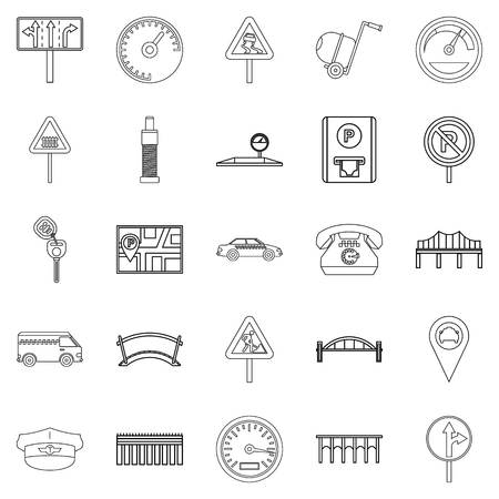 Ensemble d'icônes de la chaussée. Ensemble de contour de 25 icônes vectorielles de trottoir pour le web isolé sur fond blanc Vecteurs