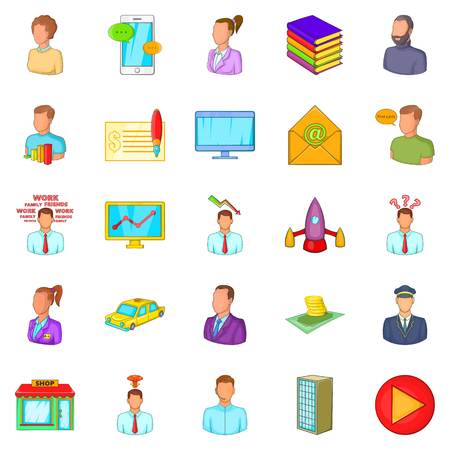 Process icons set. Cartoon set of 25 process vector icons for web isolated on white background Illustration