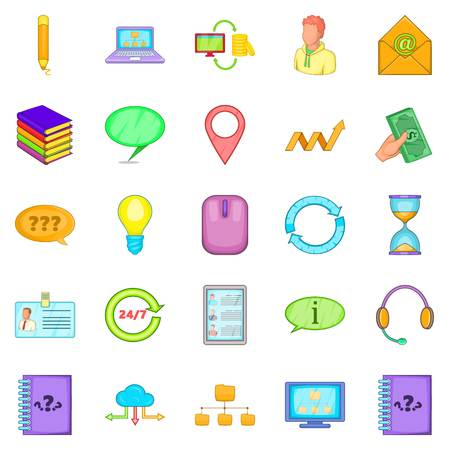 Call the office icons set. Cartoon set of 25 call the office vector icons for web isolated on white background