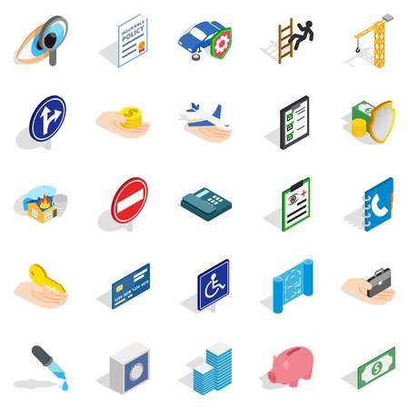 Le icone di Trouble impostate. Set isometrico di 25 icone vettoriali di guasto per il web isolato su sfondo bianco