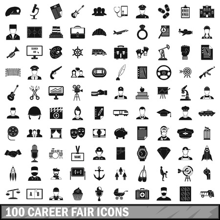 100 career fair icons set in simple style for any design vector illustration