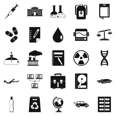 toxic substance: Experiment icons set. Simple set of 25 experiment vector icons for web isolated on white background Illustration