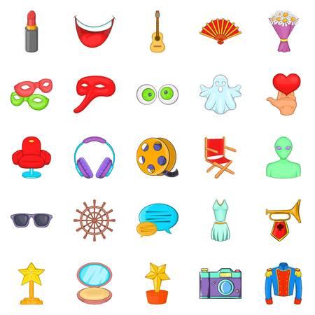 Ensemble d'icônes de cinéma. Ensemble de dessin animé de 25 icônes vectorielles de cinéma pour le web isolé sur fond blanc Banque d'images - 83397511