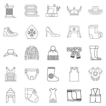 sewing machines: Needlework icons set. Outline set of 25 needlework vector icons for web isolated on white background