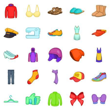 robo: Conjunto de iconos de reparación de ropa. Conjunto de dibujos animados de 25 iconos de vector de reparación de ropa para web aislado sobre fondo blanco