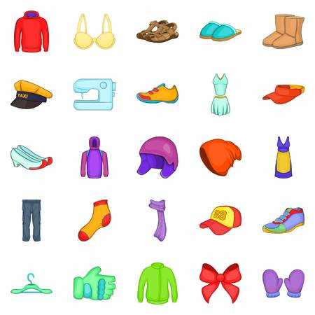 Clothing repair icons set. Cartoon set of 25 clothing repair vector icons for web isolated on white background Illustration