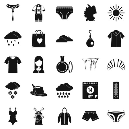 hangers: Warm clothes icons set. Simple set of 25 warm clothes vector icons for web isolated on white background Illustration