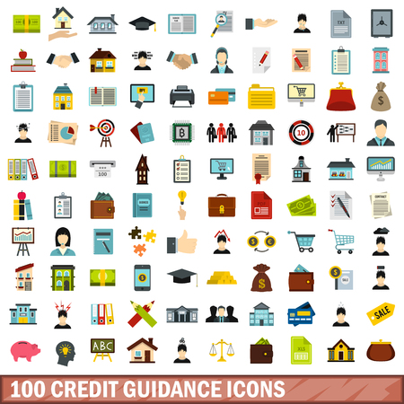 lend: 100 credit guidance icons set in flat style for any design vector illustration