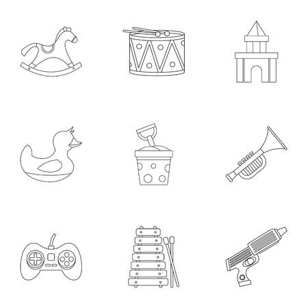 top gun: Toys for kids icon set. Outline style set of 9 toys for kids vector icons for web isolated on white background