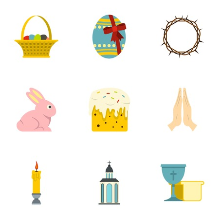 Easter day icon set. Flat style set of 9 Easter day vector icons for web isolated on white background