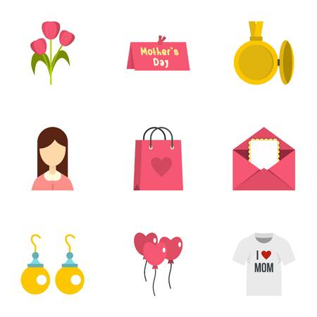 shoping bag: Day of Mom icon set. Flat style set of 9 mother day vector icons for web isolated on white background